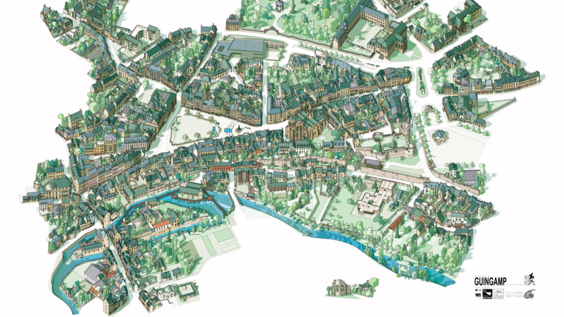 Plan cavalier de la ville © Ville de Guingamp